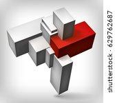 volume geometric shape  3d gray ... | Shutterstock .eps vector #629762687