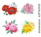 a set of four bouquets of... | Shutterstock .eps vector #629765933