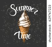 summer poster with ice cream... | Shutterstock .eps vector #629767223