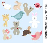 set of cute animals in cartoon... | Shutterstock .eps vector #629784743