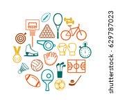 vector icons  sports equipment | Shutterstock .eps vector #629787023
