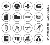 set of 16 paper filled icons... | Shutterstock .eps vector #629793317