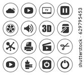 set of 16 shiny filled icons... | Shutterstock .eps vector #629795453