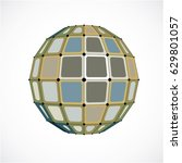abstract 3d faceted figure with ... | Shutterstock .eps vector #629801057
