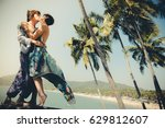 cute couple in love  with... | Shutterstock . vector #629812607