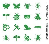 insect icons set. set of 16... | Shutterstock .eps vector #629818037