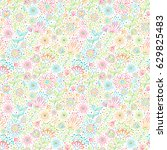 seamless background with floral ... | Shutterstock .eps vector #629825483