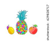 rainbow tropical fruts | Shutterstock .eps vector #629828717