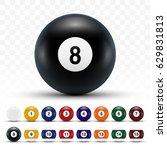 realistic 3d billiard balls... | Shutterstock .eps vector #629831813