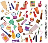 vector set of cosmetic. fashion ... | Shutterstock .eps vector #629835023