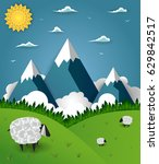 summer mountain landscape with... | Shutterstock .eps vector #629842517