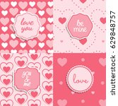 pink heart seamless pattern and ... | Shutterstock .eps vector #629848757