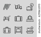 baggage icons set. set of 9... | Shutterstock .eps vector #629861093