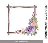 vector of floral watercolor... | Shutterstock .eps vector #629870687