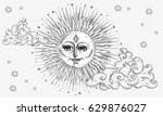 sun with face  clouds and stars ...   Shutterstock .eps vector #629876027