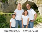mixed cheerful family outdoor... | Shutterstock . vector #629887763