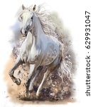 Stock photo white horse runs watercolor painting 629931047