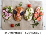 delicious selection of toasts... | Shutterstock . vector #629965877