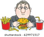 chubby man with a big... | Shutterstock .eps vector #629971517