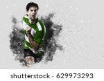 rugby player with a green... | Shutterstock . vector #629973293