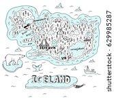 iceland hand drawn cartoon map. ... | Shutterstock .eps vector #629985287