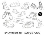 vector illustration of set hand ... | Shutterstock .eps vector #629987207