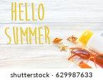 hello summer text  vacation... | Shutterstock . vector #629987633