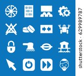set of 16 element filled icons...   Shutterstock .eps vector #629989787