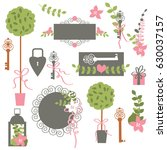 vector set of floral design...   Shutterstock .eps vector #630037157