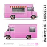 pink food truck   vector... | Shutterstock .eps vector #630039713