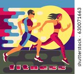 running man and woman at high... | Shutterstock .eps vector #630071663