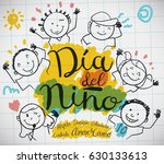 Poster with notebook paper and cute doodle drawing of happy kids and precepts to celebrate Children's Day (written in Spanish). | Shutterstock vector #630133613