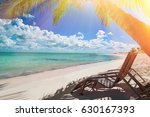 tropical white sandy beach with ... | Shutterstock . vector #630167393