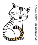 linear depicted a tiger with... | Shutterstock .eps vector #630179477