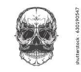 grey illustration of skull with ... | Shutterstock .eps vector #630190547