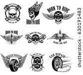 set of biker emblems on white... | Shutterstock .eps vector #630191483