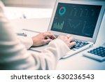 business women reviewing data...   Shutterstock . vector #630236543