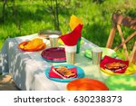 table served with disposable... | Shutterstock . vector #630238373