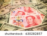 chinese yuan note and u.s.... | Shutterstock . vector #630282857