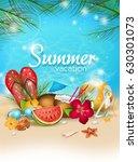 illustration of summer poster... | Shutterstock . vector #630301073