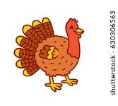 cute cartoon turkey drawing.... | Shutterstock . vector #630306563