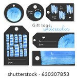 set of creative hand painted... | Shutterstock .eps vector #630307853