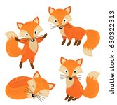Set Of Isolated Cute Foxes Par...