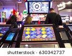 a slot machine monitor is seen... | Shutterstock . vector #630342737