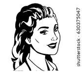 portrait woman pop art sketch | Shutterstock .eps vector #630375047