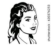 portrait woman pop art black... | Shutterstock .eps vector #630376253