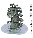 dinosaur emerges from the water.... | Shutterstock .eps vector #630410003