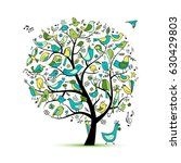 tree with birds  sketch for... | Shutterstock .eps vector #630429803