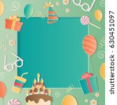 happy birthday photo frame. a...   Shutterstock .eps vector #630451097