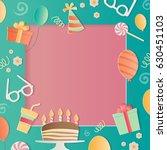 happy birthday photo frame. a...   Shutterstock .eps vector #630451103